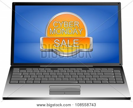 Laptop computer with Cyber Monday Sale button
