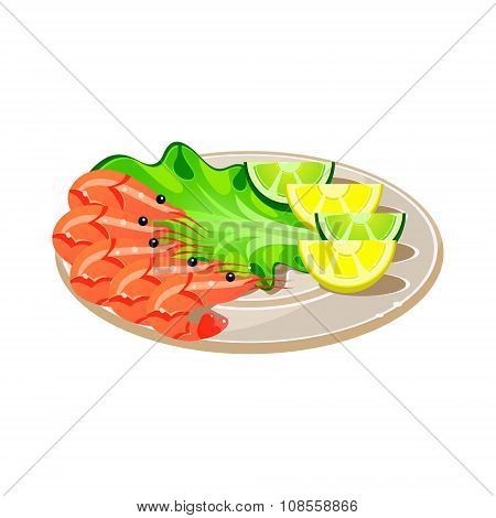 Shrimps with Salad and Lemon on a Plate. Vector Illustration