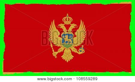 Flag of Montenegro painted on paper texture