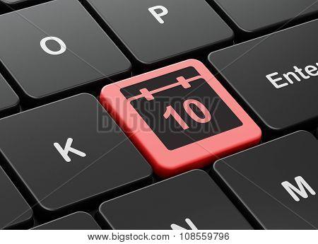 Timeline concept: Calendar on computer keyboard background