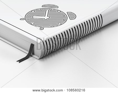 Time concept: closed book, Alarm Clock on white background