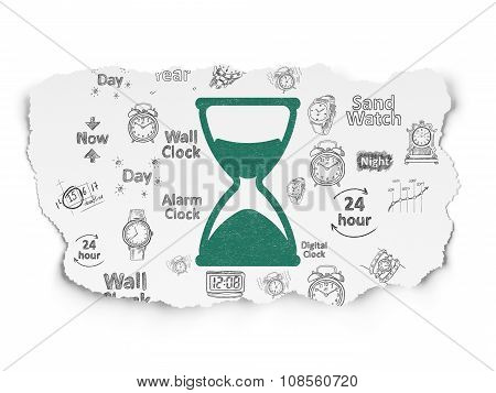 Timeline concept: Hourglass on Torn Paper background