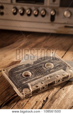 Old Cassette Tapes And Cassette Player