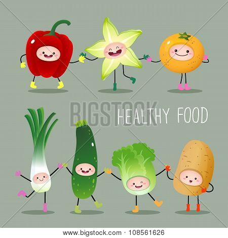 Collection Of Cartoon Fruits And Vegetables