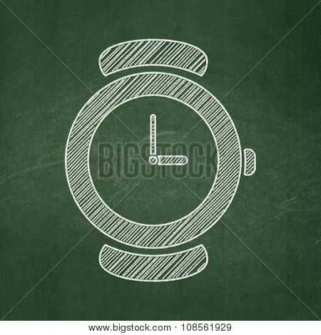 Time concept: Hand Watch on chalkboard background