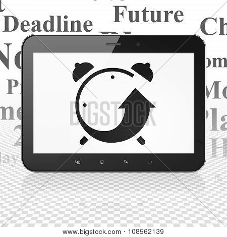 Time concept: Tablet Computer with Alarm Clock on display