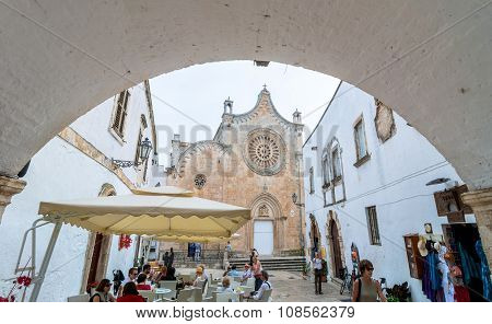 White Street With Cathedral In Ostuni, Italy