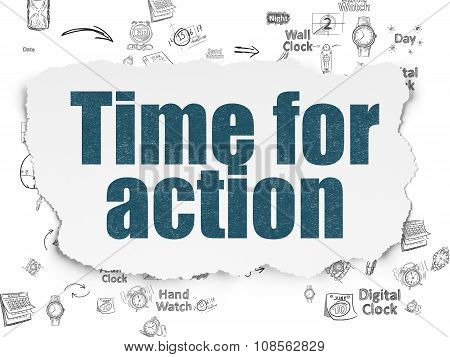 Time concept: Time for Action on Torn Paper background