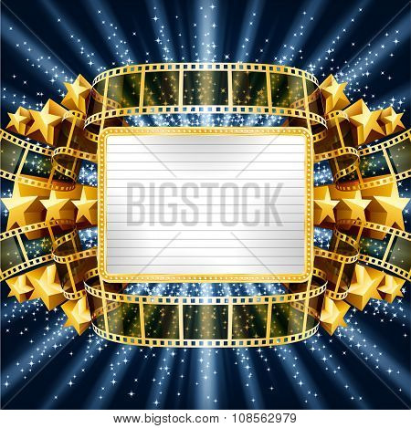 Background With Film Strip And Banner