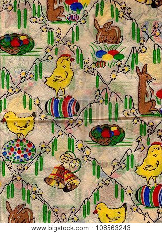 Decorated Easter wrapping paper. Vintage shabby background.