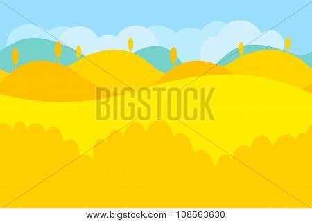 Cartoon Landscape of Yellow Desert and Trees for Game