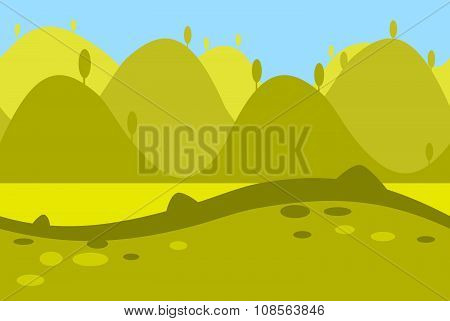 Cartoon Landscape of Green Meadows, Fields, Hills and Trees for Game