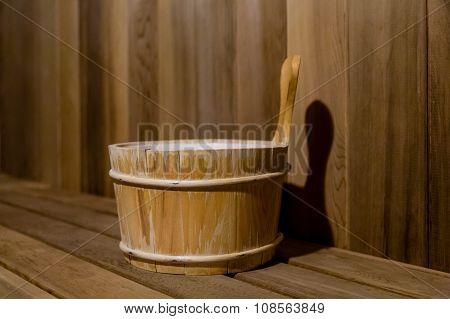 Water Bucket In Cedar Sauna