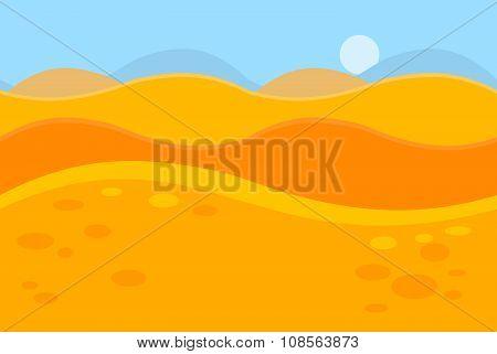 Cartoon Landscape of Yellow Desert Dunes for Game