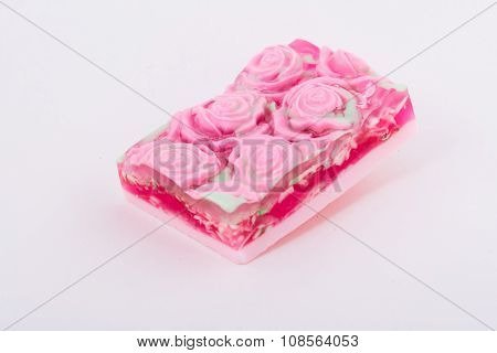The square soap handmade on light gray background