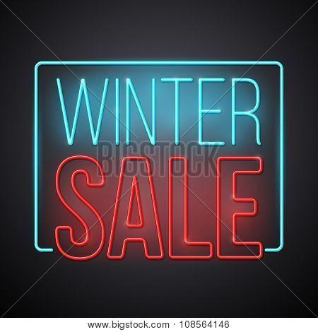 Winter sale illustration. Modern neon style vector design.