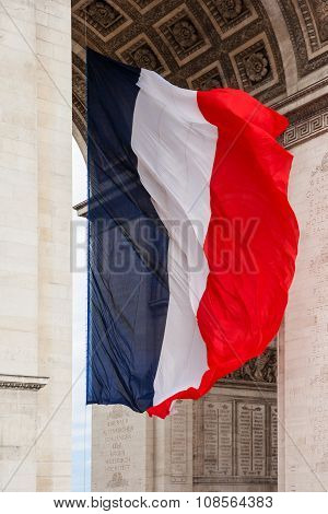 National Flag Of France With Detail Of Triumphal Arch, Paris, France