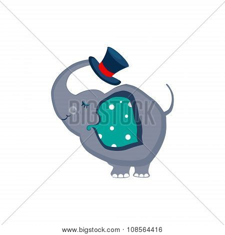 Elephant Holding a Hat with the Trunk. Vector Illustartion