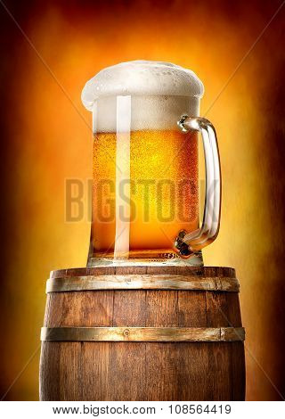 Beer with cask on yellow