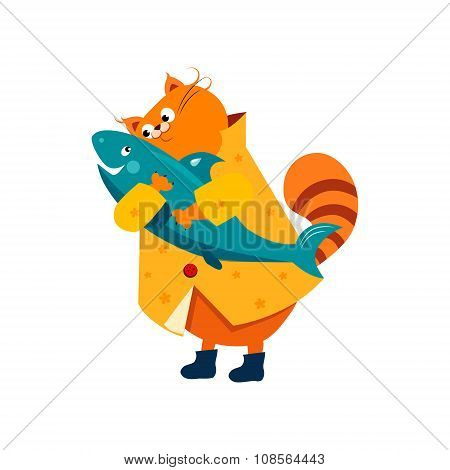 Orange Cat in a Raincoat Hugs  Fish. Vector Illustration