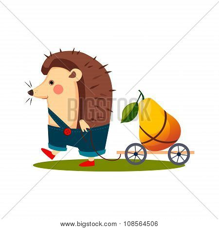 Hedgehog Carrying a Pear in Barrow. Vector Illustration