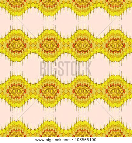 Seamless ellipses and wave pattern yellow orange pink