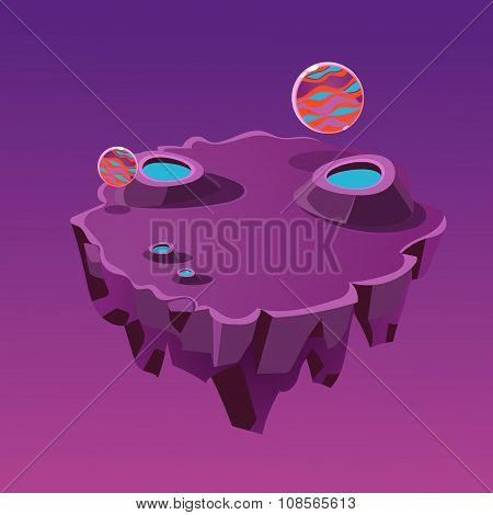 Cartoon Stone Isometric Island with Craters for Game, Vector Illustration