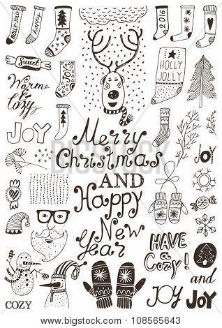 Big doodle set - Winter holidays