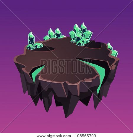 Cartoon Stone Isometric Island with Crystals for Game, Vector Illustration