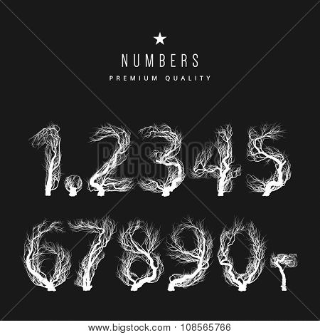 Vintage set - Trees in the form of numbers
