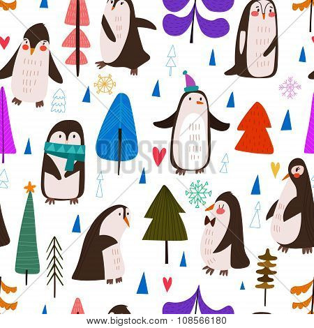 Christmas And New Year Cartoon Seamless Pattern  Little Cute Penguins And Christmas Trees - Stock Ve