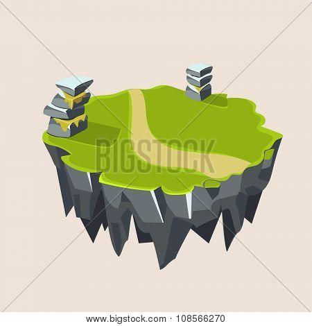 Cartoon Stone Grassy Isometric Island for Game, Vector Illustration