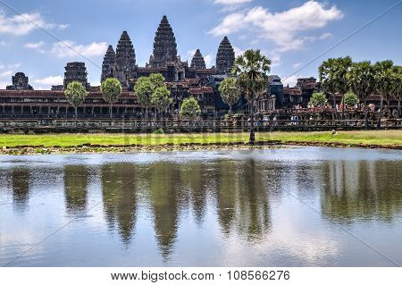 View Of Angkor Wat During The  Day