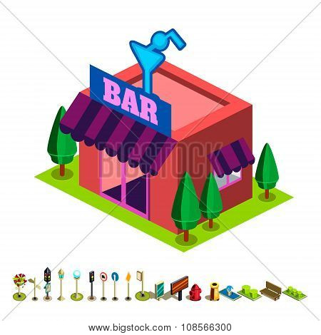 Vector isometric bar building icon