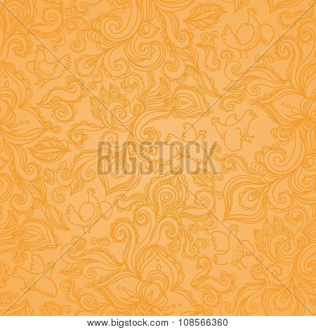 Outline Floral Seamless Pattern With Flowers And Birds.