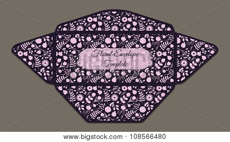 Envelope Template With Floral Pattern