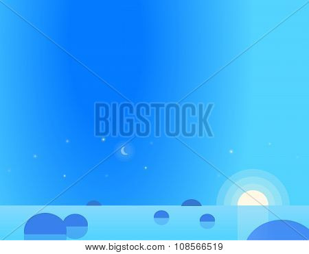 Wallpaper Landscape of Seascape at Dawn or Dusk, Vector Illustration