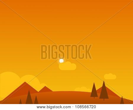 Wallpaper Landscape of Desert, Mountains and Sun, Vector Illustration
