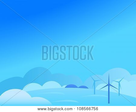 Wallpaper Landscape with Windmill in Winter, Vector Illustration