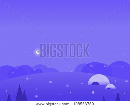 Wallpaper Landscape of Winter Hills, Igloo and Moon, Vector Illustration