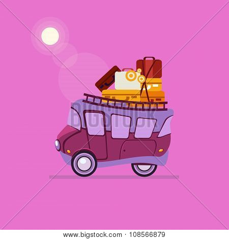 Purple Car Side View With Heap Of Luggage. Vector Illustration
