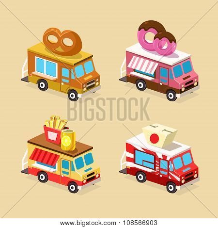 Food Truck Designs. Set of Vector Icons.