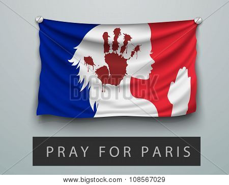 Pray for Paris terrorism attack, flag france