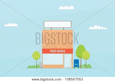 Cartoon post office building