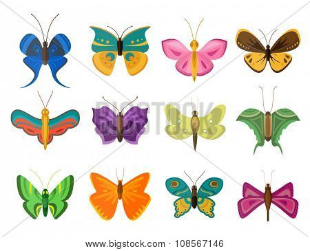 Colorful butterflies flat style vector collection. Vector butterfly set. Butterfly colorful different types. Butterfly  silhouette isolated on white background. Butterfly blue, butterfly red
