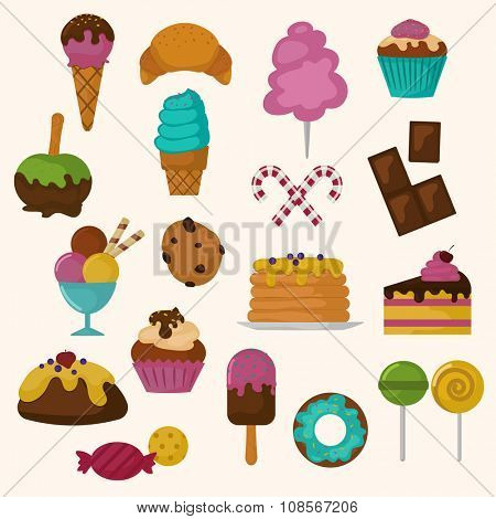Cakes icons vector set on white background. Cakes bakery dessert vector illustration. Cake for birthday, wedding and holidays. Food sweet cakes. Cupcake, cream, bakery cake. Sweet bakery vector cakes