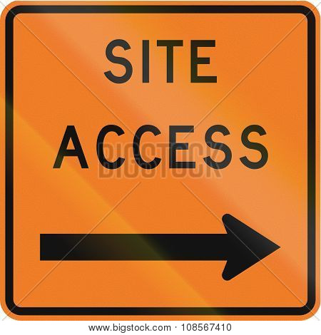 New Zealand Road Sign - Works Site Access On Right