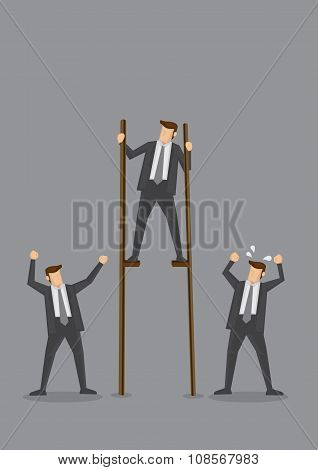 Businessman On Stilts Conceptual Vector Illustration