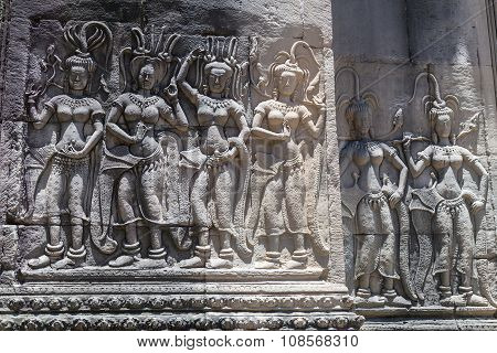 Bas-reliefs In Upper Terrace Of Angkor Wat  Complex