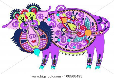tribal art in karakoko style, folk ethnic animal - wild boar